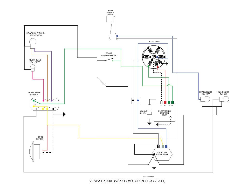 Vespa Glx met p200e motor electriciteits problemen