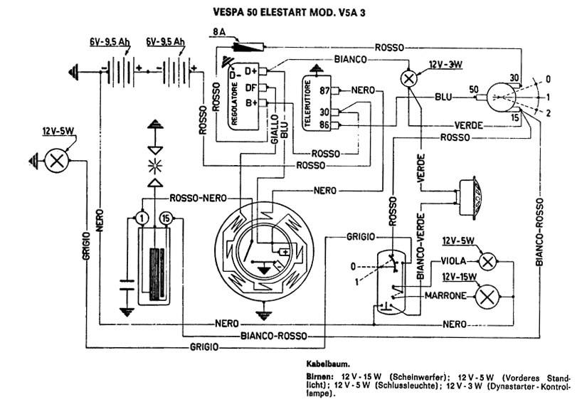 Schaltplan Vespa V50 Mit Bremslicht