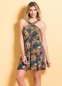 vestido floral quintess acinturado
