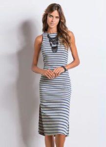 vestido midi listrado azul com fenda quintess