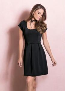 vestido quintess preto rodado com pregas