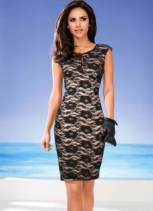 vestido tubinho de renda preto