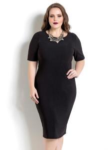 vestido tubinho midi preto quintess plus size