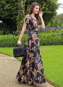 Vestido Longo Moda Evangélica Estampado