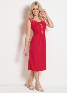 Vestido Midi Acinturado Vermelho