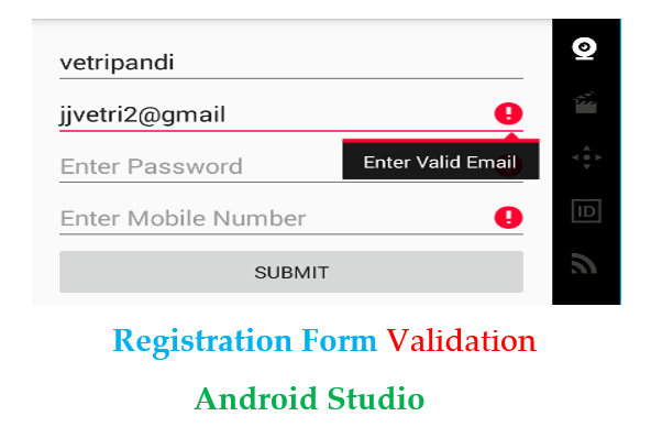 Registration Form Validation Android - Android Studio