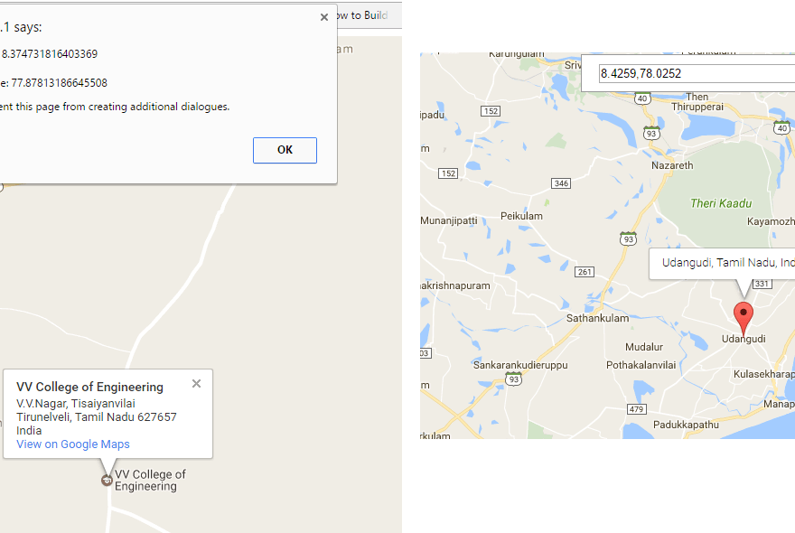 get latitude and longitude value from google map