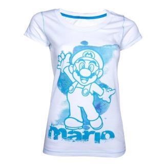 White/Blue Mario Female T-shirt MEDIUM