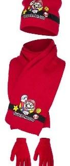 """Super mario muts met bijpassende sjaal en handschoenen Rood """"maat 52"""""""