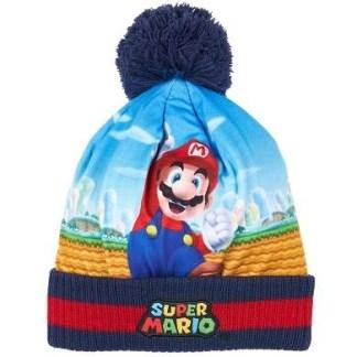 """Super Mario Bros Gebreide muts blauw """"maat 54"""""""