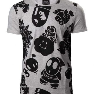 Super Mario - Nappy grijs heren T-shirt met all over print