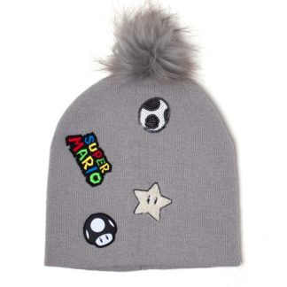 SUPER MARIO - Super Mario Patches Beanie Grijs