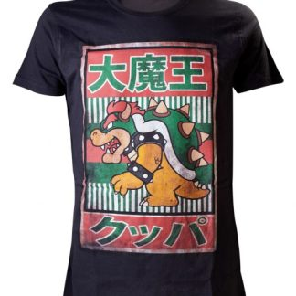 NINTENDO - BLACK BOWSER KANJI HEREN T-SHIRT