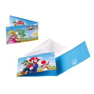 Super Mario Uitnodigingskaarten met enveloppen 8 stuks