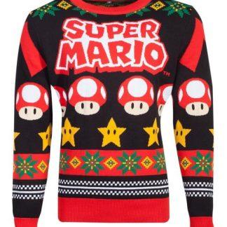 Super Mario Mushrooms gebreide kersttrui Nintendo m/v
