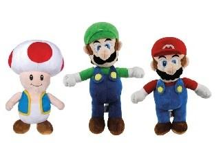 Super Mario Bros - Super Mario, Luigi en Toad knuffelset 30cm