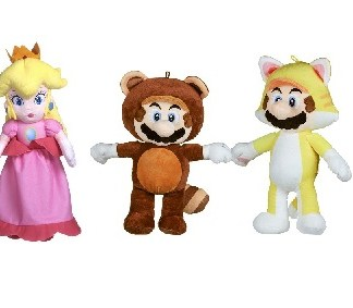 Super Mario Bros - Princess Peach, Tanooki en Cat Mario knuffelset 35cm