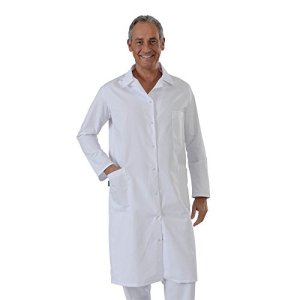 Label blouse Blouse Blanche manches manches longues chimie laboratoire médical Sergé 210 gramme Couleurs Blanc Pressions inoxydables Lavage Machine 90 degrés ou industriel T0-36