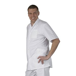 Label blouse Tunique médicale homme col officier 3 poches fermeture pressions Sergé 210 gramme Couleurs Blanc Pressions inoxydables Lavage Machine 90 degrés ou industriel T5-52/54