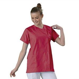 Tunique médicale Blouse médicale courte de travail en Couleur col rond manches courtes 3 poches couleur Tissu lavable machine serge Corail T3