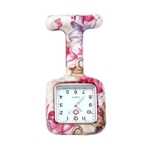 JSDDE Montre Silicone infirmier medecin Quartz Pince Epingle Broche Poche – Square colouful Bubbles rose
