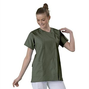 Tunique médicale Blouse médicale courte de travail en Couleur col rond manches courtes 3 poches couleur desto serge Kaki T2