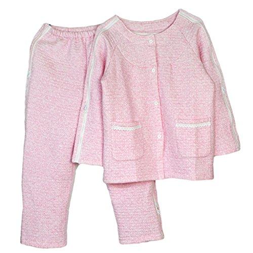 Gazechimp Blouse Vêtement Médical Veste et Pantalon en Coton Souple avec Glissière Facile à Habiller et Enlever pour Soins Patients – Rose, XXL