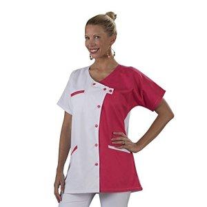 Label blouse Tunique blouse médicale couleur moderne 3 poches passe poiles Fermeture asymétrique Sergé 210 gramme Couleurs Blanc Rose Pressions couleurs Lavage Machine 90 degrés ou industriel T5-52/54