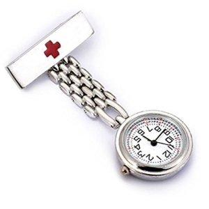 wzc Argent Quartz en acier inoxydable Rouge Croix infirmière montre Pin's (épinglette avec lumineux mains wzc Logo pendentif