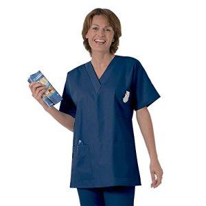 Blouse médicale type tunique col V idéale blouse vétérinaire blouse dentiste blouse pharmacie popeline 65/35 Blue Navy 801 T1 – 38/40