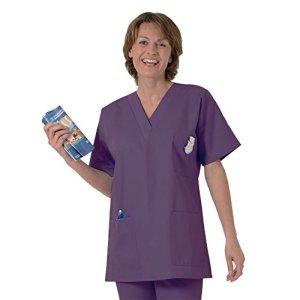 Blouse médicale type tunique col V idéale blouse vétérinaire blouse dentiste blouse pharmacie popeline 65/35 Dark Purpule 531 T3 -44/46