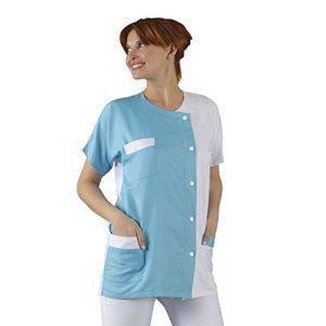 Label blouse Tunique médicale Col rond 3 poches manches courtes Sergé 210 gramme Couleurs Blanc Turquoise Pressions inoxydables Lavage Machine 90 degrés ou industriel, Blanc, Turquoise, 42