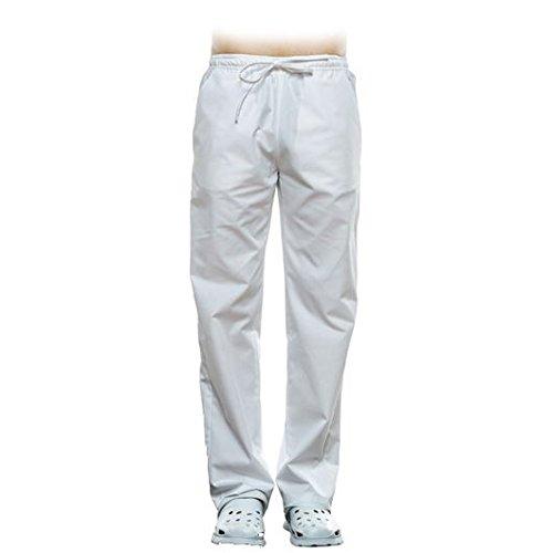 Selekto Pro Pantalon Médicale Esthétique Mixte Couleur Blanc, Haute Qualité- Médecin Dentiste Vétérinaire Infirmière (L)