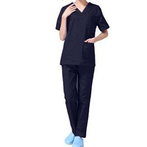 Nanxson TM Ensemble Veste et Pantalon Médical Uniforme de Labo Blouse Unisexe en Coton CF9027 (Femme Bleu Foncé, M)