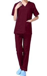 Nanxson TM Ensemble Veste et Pantalon Médical Uniforme de Labo Blouse Unisexe en Coton CF9027 (Femme Rouge Foncé, M)
