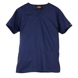 Tunique medicale a col en V Dickies unisexe (S) (Bleu marine)