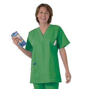 Blouse médicale type tunique col V idéale blouse vétérinaire blouse dentiste blouse pharmacie popeline 65/35 Grass green 812 T4 -48/50
