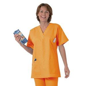 Blouse médicale type tunique col V idéale blouse vétérinaire blouse dentiste blouse pharmacie popeline 65/35 orange 616 T7 -60/62