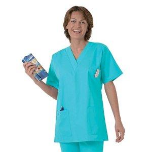 Blouse médicale type tunique col V idéale blouse vétérinaire blouse dentiste blouse pharmacie popeline 65/35 Turquoise 806 T1 – 38/40