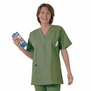 Blouse médicale type tunique col V idéale blouse vétérinaire blouse dentiste blouse pharmacie popeline 65/35 kaki green 811 T0 – 36