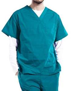 Nanxson(TM Ensemble Veste et Pantalon Médical Uniforme de Labo Blouse Unisexe en Coton CF9027 (Homme Vert, M)
