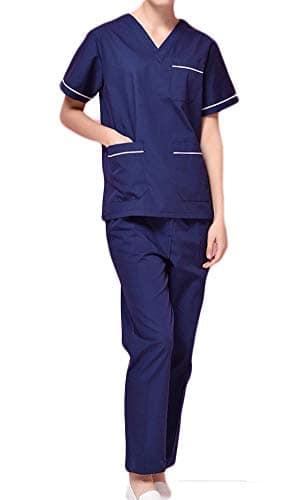 Nanxson(TM Ensemble Veste et Pantalon Médical Uniforme de Labo Blouse Unisexe en Coton CF9027 (Femme Bleu foncé, XXL)