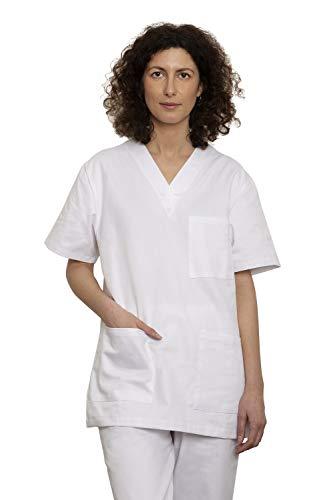 Uniforme Médical avec Haut et Pantalon – Ensemble Uniformes Unisexe 100% Sanfor Coton Oeko-Tex Certifié pour Les Professionnels Médecins Infirmières Vétérinaires Dentistes (L, Blanc)