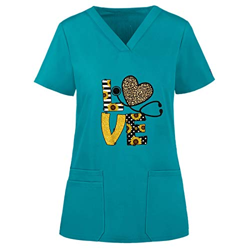 Kuyay Vêtements de Travail Et Uniformes,Blouse Médical Femme Col V à Manches Courtes Coton avec Poches Vetement Medical Uniforme Médicale Haut de Travail Top de Laboratoire Médical Chemise Top Angel