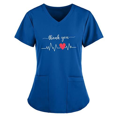 LXZS Blouse Blanche,Blouse Médical Femme Col V à Manches Courtes Coton avec Poches Vetement Medical Uniforme Médicale Haut de Travail Top de Laboratoire Médical Chemise Top Angel