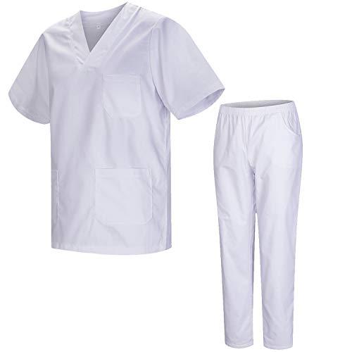 Misemiya – Ensemble Uniformes Unisexe Blouse – Uniforme Médical avec Haut et Pantalon – Ref.8178 – XX-Large, Blanc