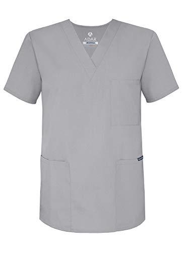 Adar Uniforms Uniformes Médicaux Unisexe Col V Tunique 3 Poches Haut d'infirmier Blouse d'Hôpital, Gris (Silver Gray), 2X-Poitrine:129-137cm,Hanche:127-134cm