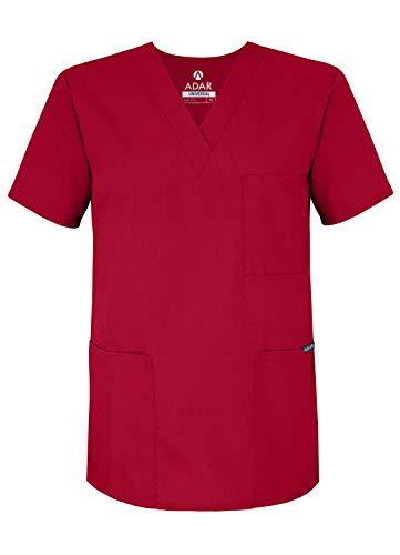Adar Uniforms Uniformes Médicaux Unisexe Col V Tunique 3 Poches Haut d'infirmier Blouse d'Hôpital, Rouge (Red), XXS-Poitrine: