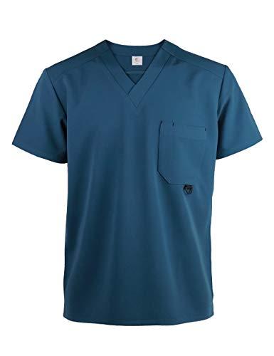 JONATHAN UNIFORM Unisexe Blouse Medicale Col V, Uniforme Infirmière Médecin Blouse d'Hôpital avec Poches pour Homme et Femme, Uniforme d'Hôpital Scrub Top (Ciel, M)