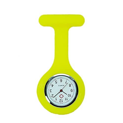 JSWFZ Nouveau Couleur Solid Color Aperçual Broche numérique analogique FOB Garde d'infirmière médicale Montre-Cadeau Quartz Regarder Décor Accessoire (Color : Yellow)